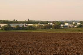 Blick auf Bahnhof Reken mit Kirche St.Elisabeth und Iglo-Betriebsgelände