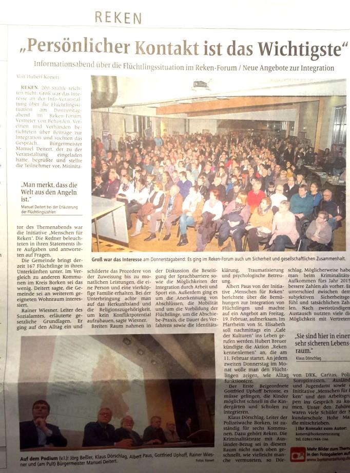 Bericht über die Veranstaltung zur Situation der Flüchtlinge in Reken