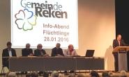 Podium aus Gemeindevertretern und anderen Experten in Flüchtlingsfragen