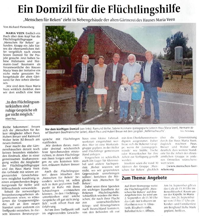 Bericht in der Borkener Zeitung am 13.8.2016