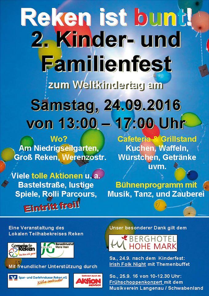 Plakat zum Kinder- und Familienfest 2016 in Reken